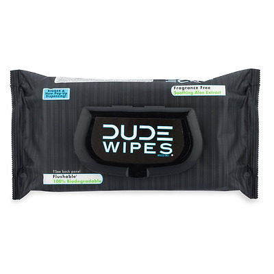 DUDE Wipes, Flushable Moist Dispenser Pack, Fragrance Free and Naturally Soothin