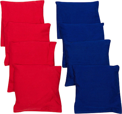 Trademark Innovations 4-Inch Starter Set Cornhole Bean Bags, Set of 8, Red and B