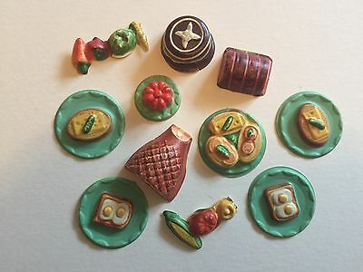 Vintage BarbieDeluxe Reading Dream Kitchen Assorted food items  1960's