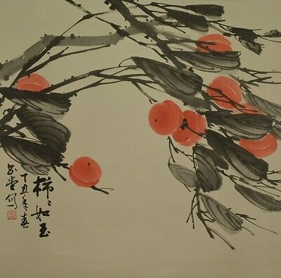 Chinese Hanging Scroll Picture Painting Persimmon Asian art Antique China a179