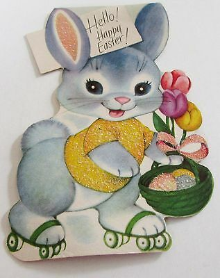 Used Vtg Easter Card Rust Craft Bunny in Glittery Shirt on Roller Skates