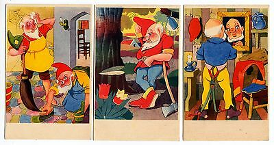 THREE GNOME POSTCARDS - c1930s era ? - difficult to date precisely