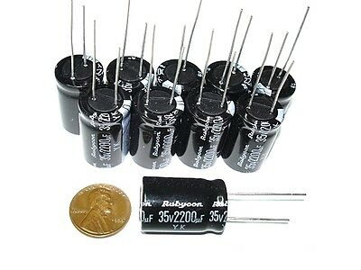 10pack 2200uf 35v 85c Rubycon YK Radial Electrolytic Capacitors 16x25 NEW