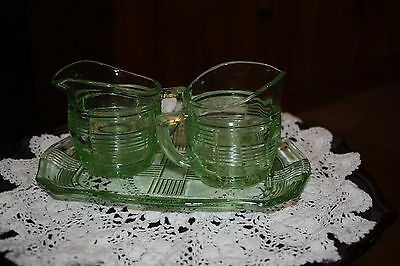 Glass Green Depression  Cream Jugs And Tray Set