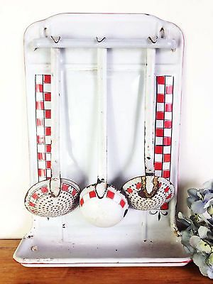 Utensil Holder An Antique French Country Kitchen Enamel Hanging - f027a