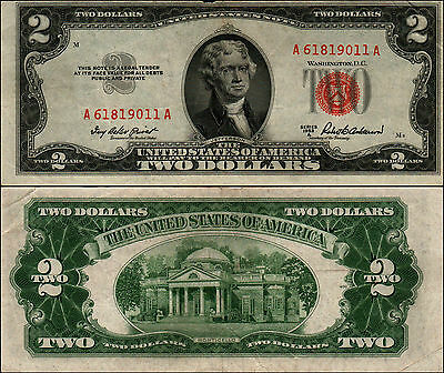 1953A $2 Dollar Bill Old Us Note Legal Tender Paper Money Currency Red Seal Y389