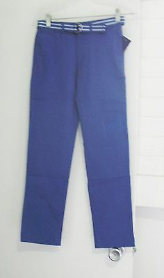 Polo Ralph Lauren Boys Twill Pants with Striped Belt Sporting Blue Sz 8 - NWT