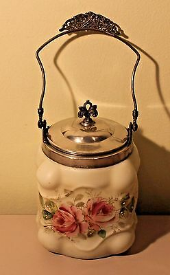 "Antique Wavecrest CF Monroe Co.  Biscuit Jar W/Silver-Plated Lid ""Roses"""