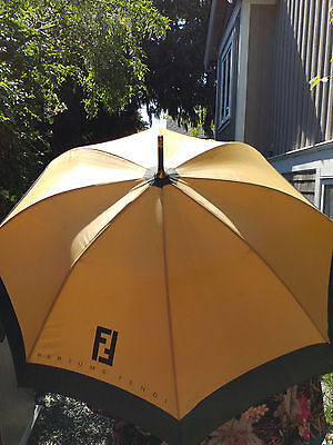 "RARE Vintage 40"" FENDI Parfums UMBRELLA Gold+Black FENDI Logo Black Wood Handle"