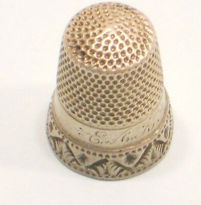 Sterling Silver Thimble, Monogrammed E A K, Size 9