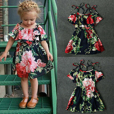 Flower Girl Princess Tutu Dress Kid Baby Party Wedding Pageant Floral Dresses