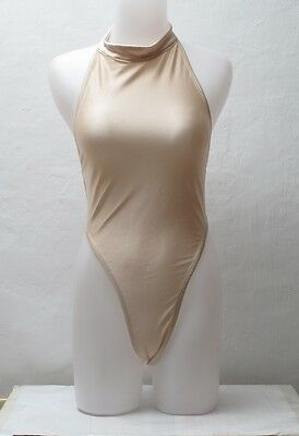 New Shiny Cream Colored High Neck Open Back Thong Leotard size 12 Medium