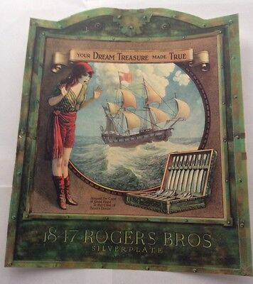 1920s Advertising Sign for Rogers Bros Silverplate w/Ship