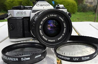 Canon AE-1 Film Camera with Canon Zoom Lens FD 35-70mm 1:3.5-4.5, Flash & Filter