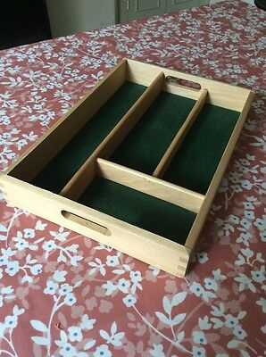 Vintage Style Wooden Green Baize lined pine cutlery tray