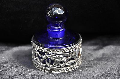 blue glass inkwell with white metal decortion band glass made in france