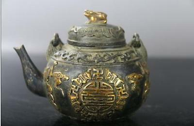 Collection of ancient China Carved bat bronze ware gilt Teapot