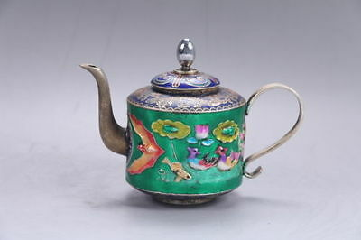 Exquisite hand carved Mandarin Duck Cloisonne teapot