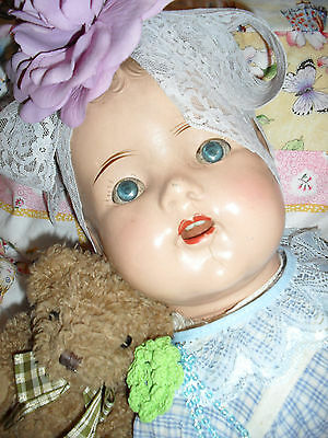 heavy--ANTIQUE old baby vintage doll WITH FAULTS /free postage