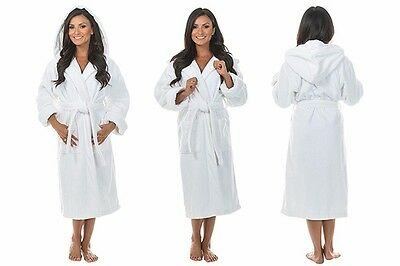 Frette 100% Soft Cotton Towling Hooded White Bath Robe Dressing Gown S/M