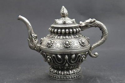 Old Chinese Handwork dragon cupronickel Teapot