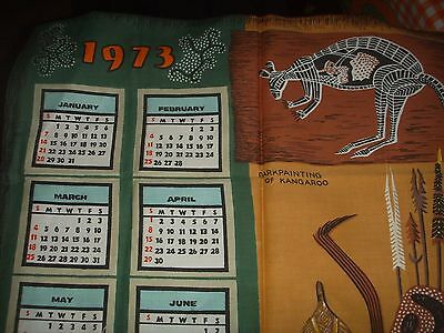Vintage 1973 Aboriginal Art Australia Calendar Tea Towel Unused