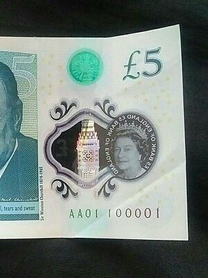 new 5 note aa01 serial number £5