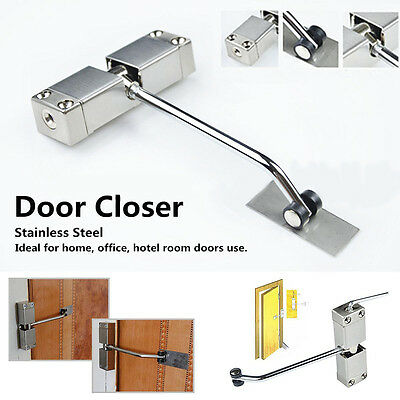 Auto Adjustable Door Closer Spring Loaded Adjustable Tension Surface Mounted