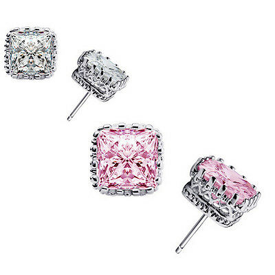 925 Sterling Silver Cubic Zirconia Crystal Square Ear Stud Women Earring Jewelry