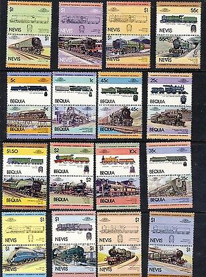16 Se-Tenant Pairs of Locomotive Stamps - Bequia and Nevis MNH