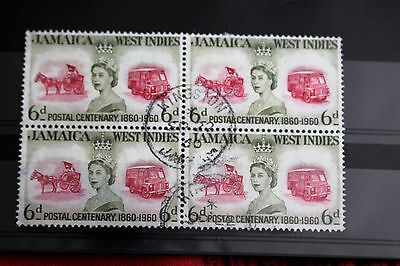 Jamaica 1960 Centenary 6d Green & Red Block of 4 Used