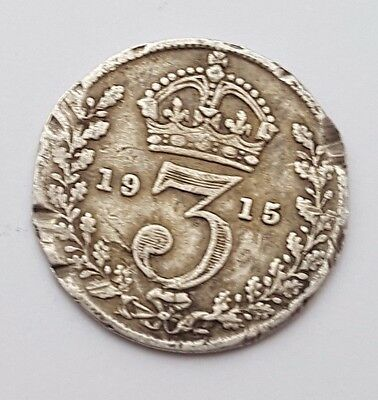 Dated : 1915 - Silver Coin - Threepence / 3d - King George V - Great Britain