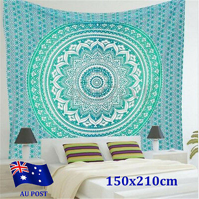 Indian Tapestry Wall Hanging Mandala Throw Hippie Bedspread Twin Blanket Mat BO