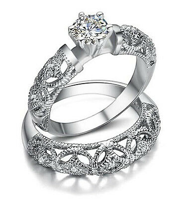 Women Vintage Style Engagement Ring Antique Wedding Ring Set Vintage Jewelry R99