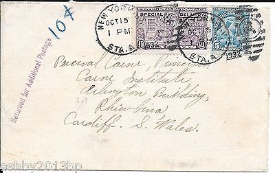 Usa 1932 Underpaid Cover To Cardiff New York/n.y./stat A/ A Duplex.purple Cachet