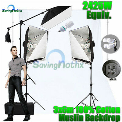 Photo 2875W Studio Softbox Continuous Lighting Boom Stand KIT+WHITE BACKDROP NEW