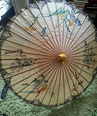 Chinese Old Handpainted Parasol.