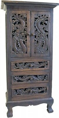 Schrank Highboard Kommode Drachen China Möbel Thai Holz 2 Türen 3Laden 110Cm '8