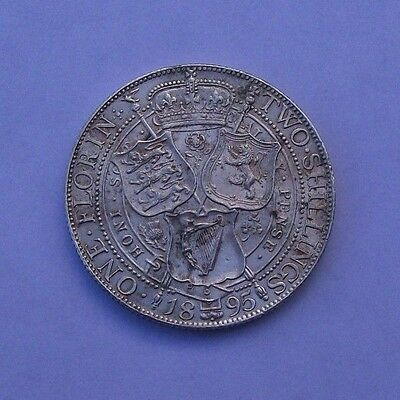 Victorian Silver 1895 One Florin/two Shillings Coin - High Grade