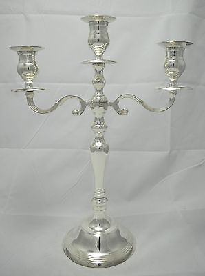 N4608 N° Magnifico Candelabro 3 Luci In Argento Sheffield Collection