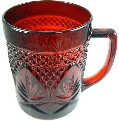Vintage Extra Resistant Ruby Red Glass Mug Cup France Arcoroc (8 available)