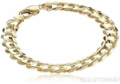 """Men's 10k Yellow Gold 11mm Solid Curb Chain Bracelet, 9"""""""