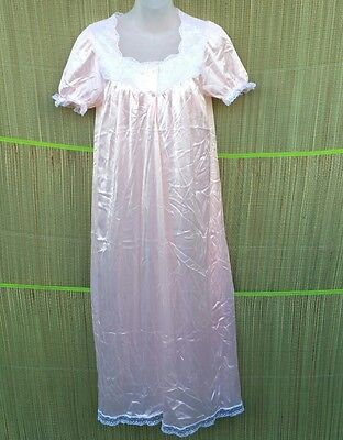 Nylon sleepwear Long Nightgown Nightie Pink Vintage Size Approx 10