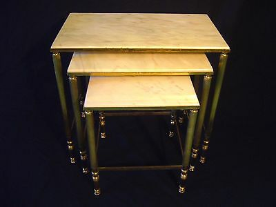 CHARMING Late 40s DECO Vintage Italian Marble Gold Nested 3 Lounge Chair Tables