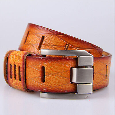 Men's Luxury Pin Buckle Belts Genuine Leather Cowhide strap Waistband Brown