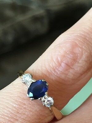 Vintage Sapphire And Diamond Three Stone Trilogy Ring In 18ct Gold