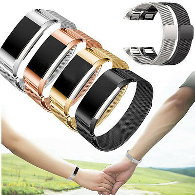Milanese Magent Stainless Steel Watch Band Strap For Fitbit Charge 2 Tracker UK