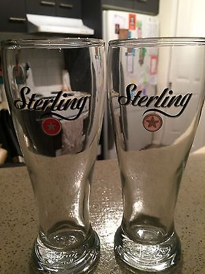 2 X Collectable GLASS Sterling Beer Glasses 285 ml Drinkware Barware