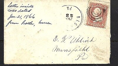 1866 USA Cover To Mansfield PA