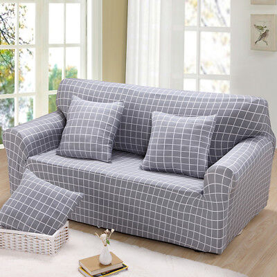 Spandex Stretch 3-Seater Sofa Couch Seat Cover Slipcover Grey Plaid Decor